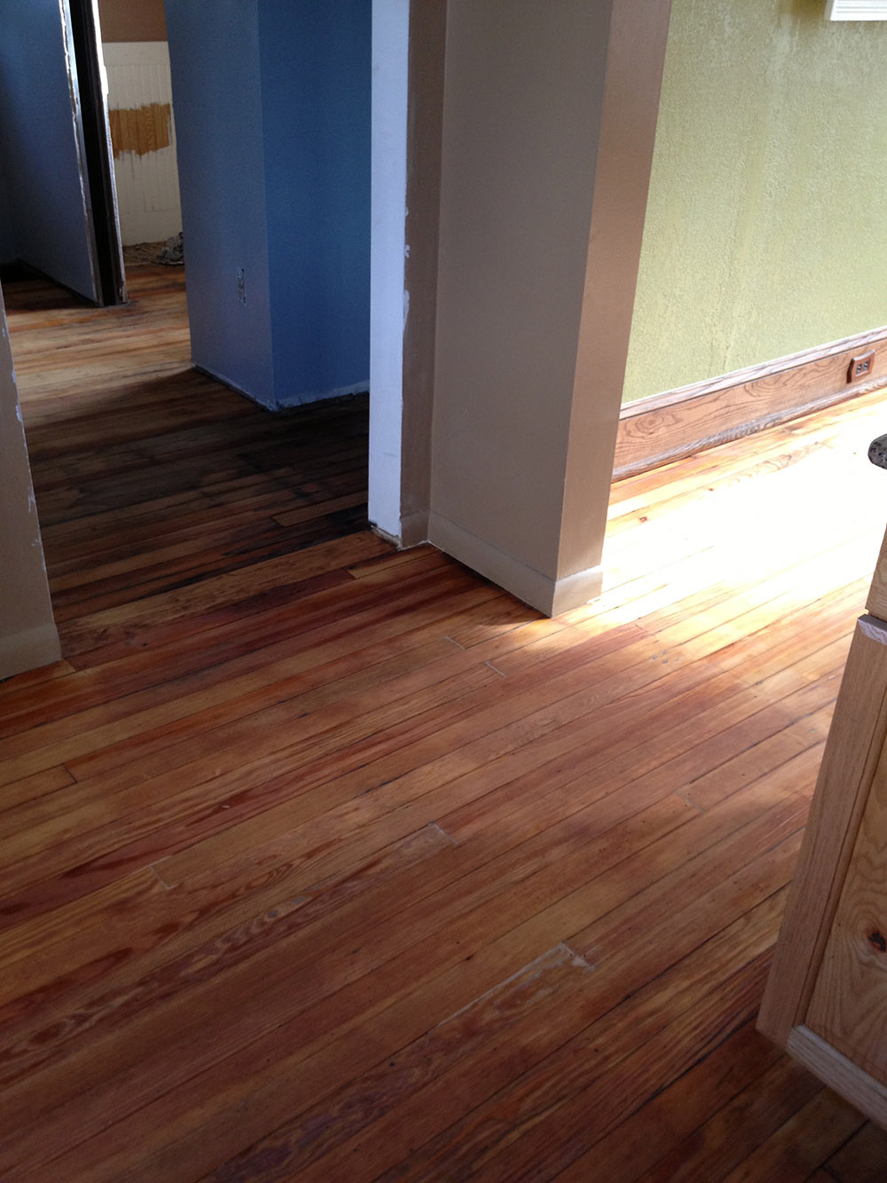 Mudroom renovation hardwood floors refinished 1 more for Floor refinishing
