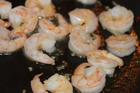 Saute Shrimp in butter with minced garlic until just pink.