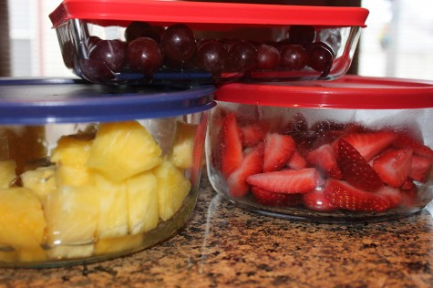 Healthy Side Dish Tropical Fruit Salad with fresh pineapple, strawberries, and red seedless grapes