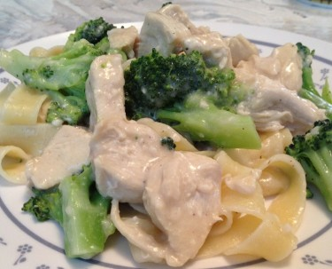 Pasta with Homemade Alfredo Sauce, Broccoli, and Chicken
