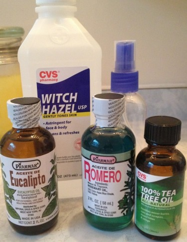 Witch hazel, tea tree oil, eucalyptus oil, and rosemary oil are all going into this homemade insect repellent.