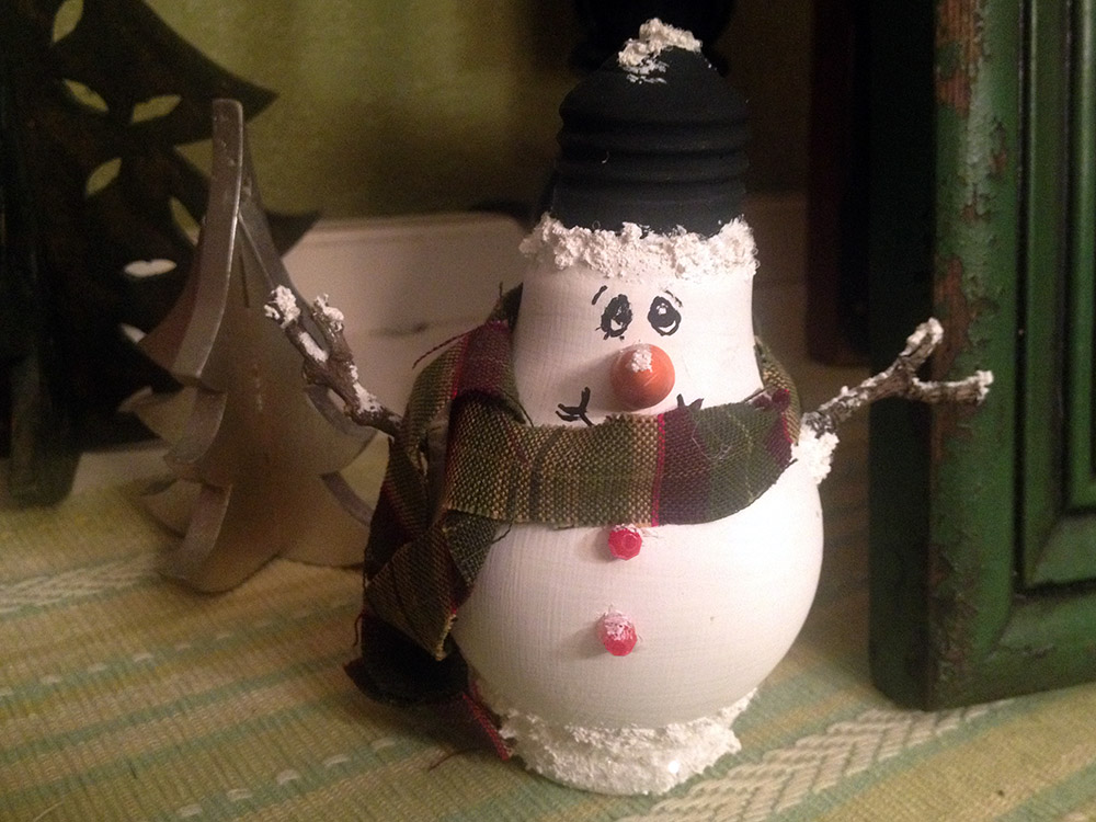 Handcrafted Light Bulb Snowman Re-Purposed from Edison Bulb