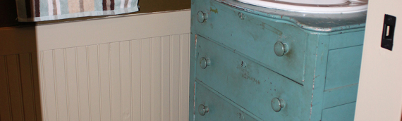Mudroom Renovation: Old Dresser Re-purposed into a Stunning Vanity on the Cheap
